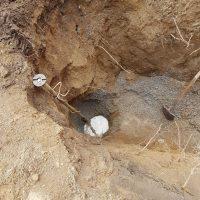 digging around water pipe